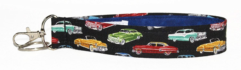 6 Inch Loop Car Accessories Black With Retro Automobiles Key Fob Strap Vintage Car Keychain 1 Inch Wide