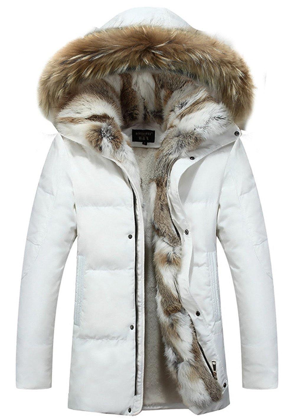 CYVVV Mens 90% Duck Down Hooded Luxurious Down Fur Coat Jacket Rex Fur Collar