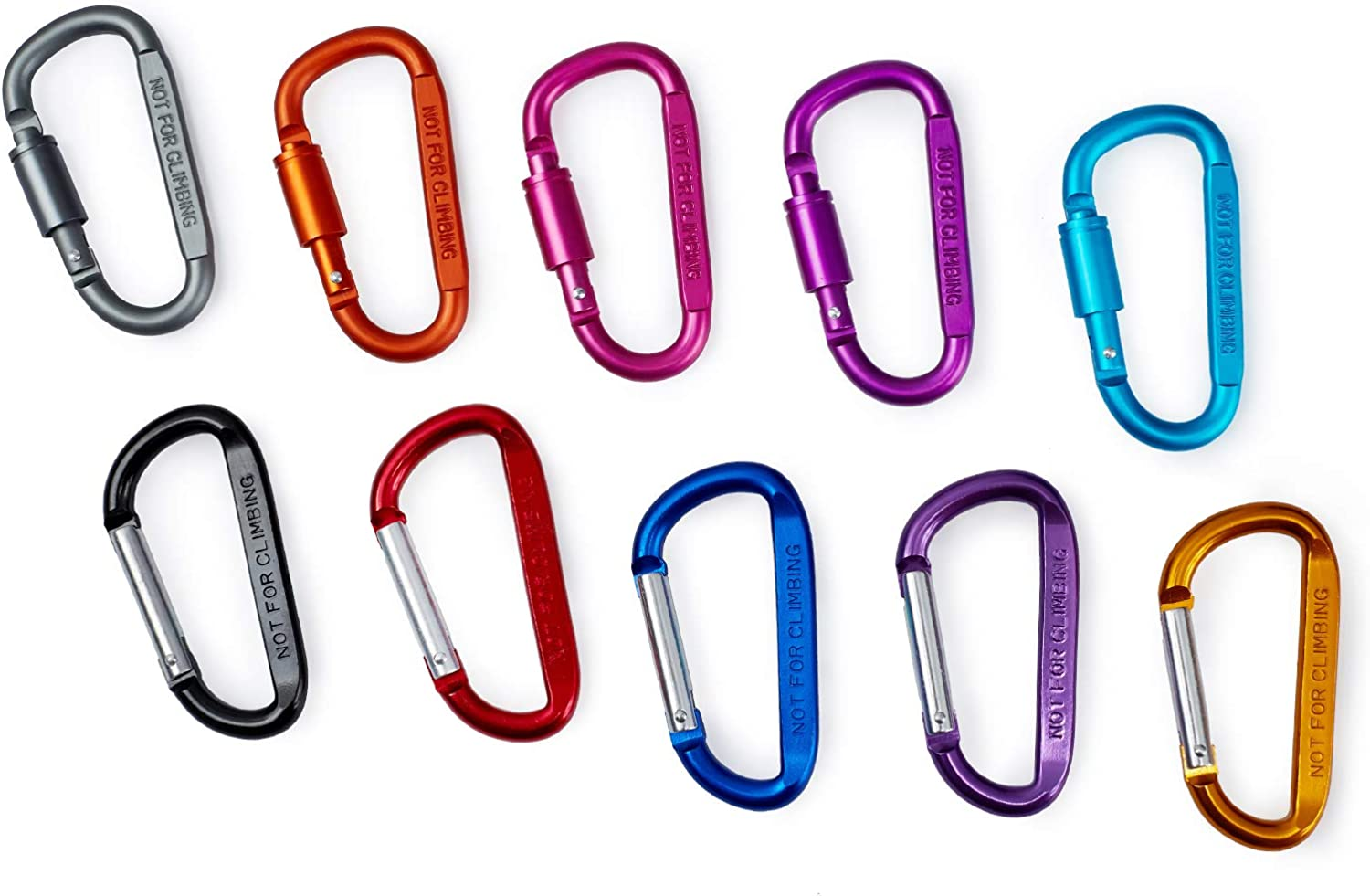 Keychain Clip MODENGKONGJIAN Aluminum Carabiner D Shape Buckle Pack 10 PCS Camping Climbing Hiking Keychain Spring Snap Hook Screw Gate Buckle 3 D-Ring Locking Key