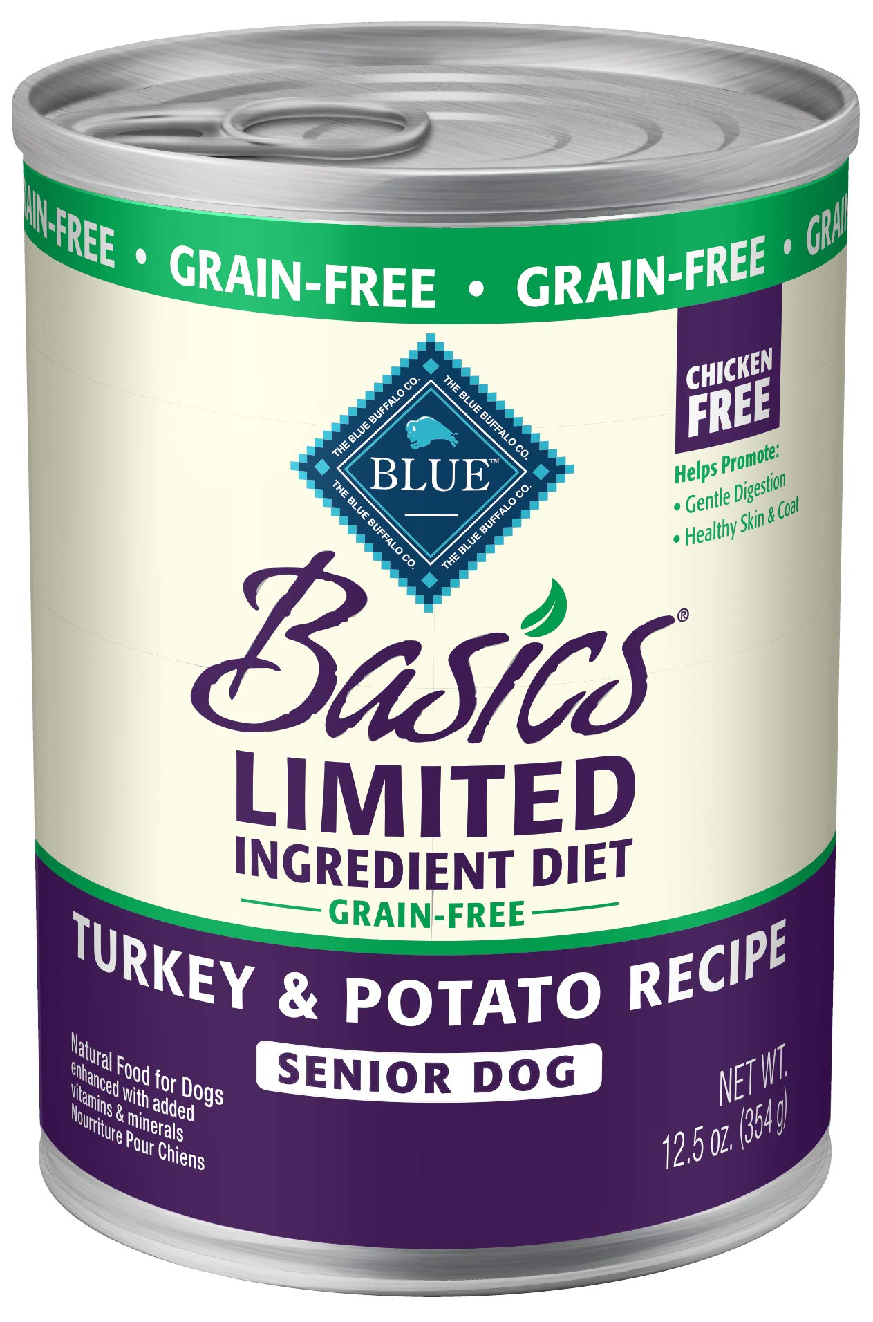 Blue Basics Limited Ingredient Diet Senior Grain Free Turkey & Potato  Wet Dog Food 12.5-Oz (Pack Of 12) by Blue Buffalo