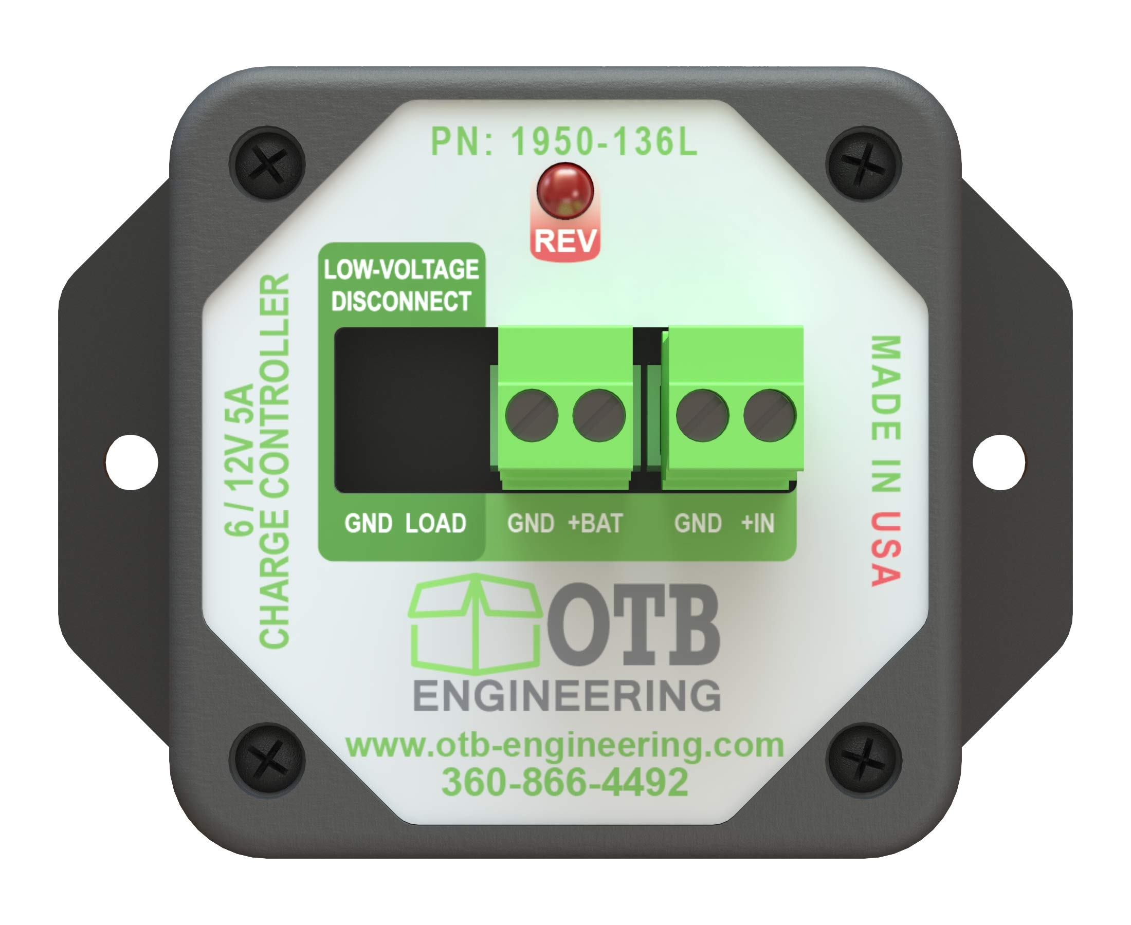 OTB Engineering Solar Charge Controller - 400μA Self-Consumption - 6/12V, 5A by OTB Engineering