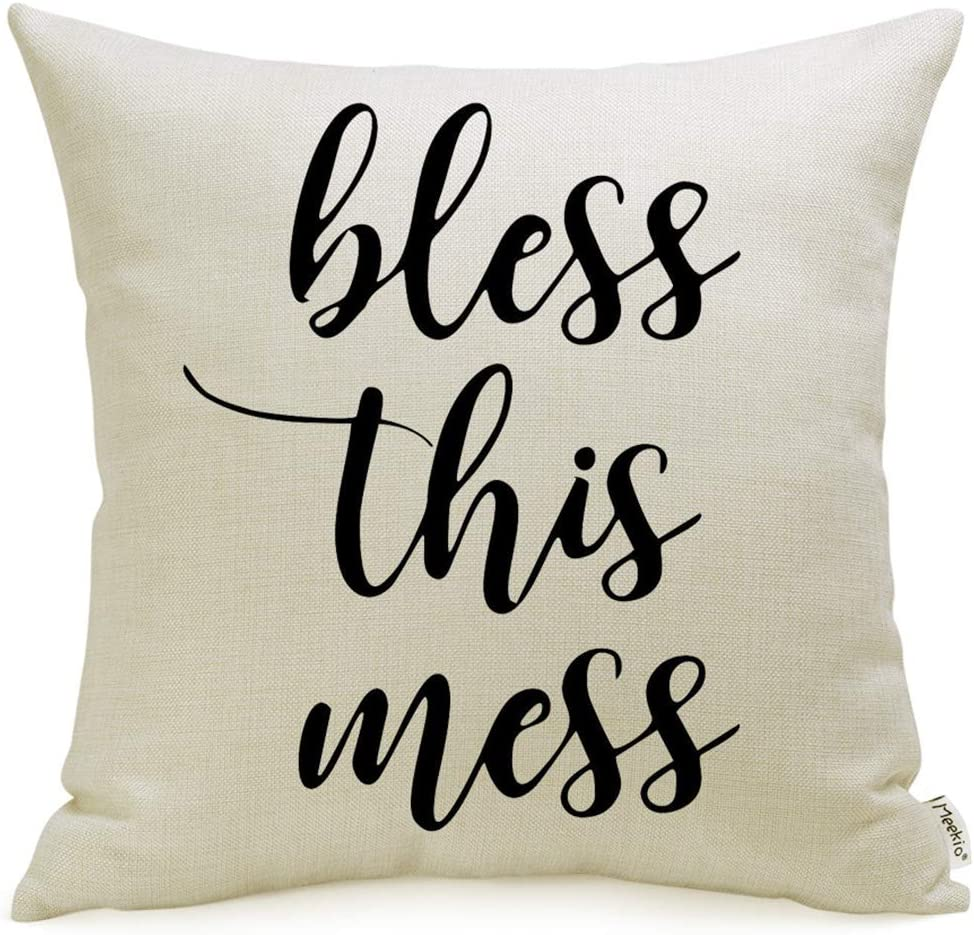 "Farmhouse Pillow Covers with Bless This Mess Quote 18"" x 18"" for Farmhouse Décor"