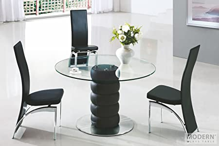 Zeta Round Glass Dining Table With 4 G501 Black Leather Dining Chairs Amazon Co Uk Kitchen Home