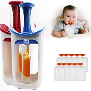 LANGYA Baby Food Maker, Squeeze Station Pouch, Reusable Baby Food Pouches, Baby Fresh Fruit Juice Food Maker, Toddler Snacks for Homemade Baby Food, Baby Food Storage Containers