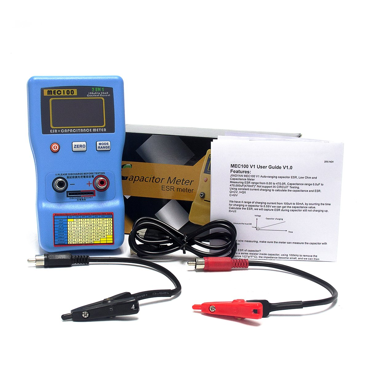Signstek 2 in 1 Digital Auto-ranging ESR + Capacitance Meter 0-470Ω ERS 0μF-470mF Rechargeable Capacitance Tester and Internal Resistance Tester with SMD Test Clips and USB Cable by Signstek (Image #9)