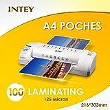 INTEY 100 Pochettes de Plastification Transparente A4 216*303mm 125mic Documents et Micro Fichier
