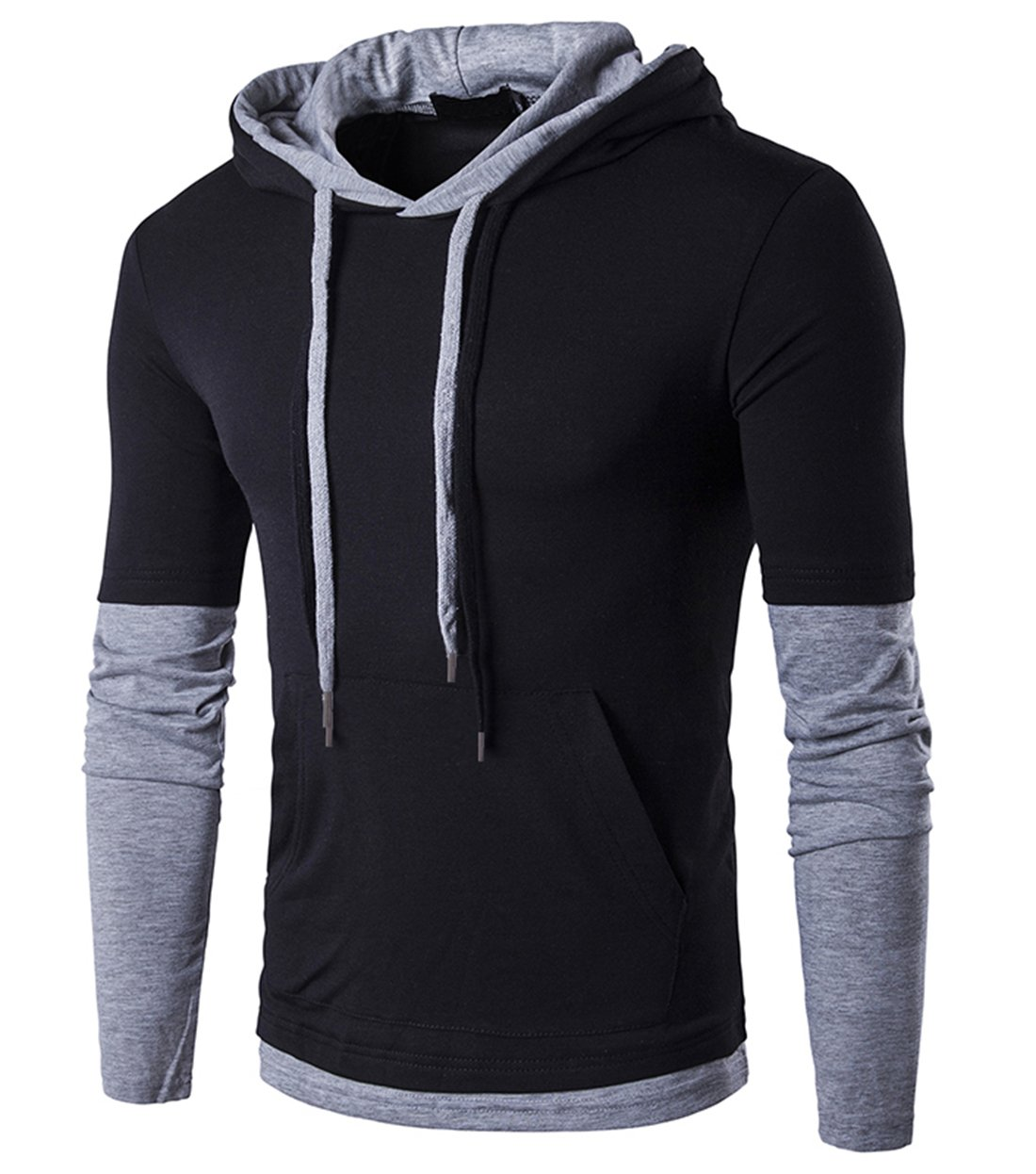 SIR7 Men's Stylish Hooded T Shirt Casual Long Sleeve Hipster Hip Hop Hoodie Shirts Black M
