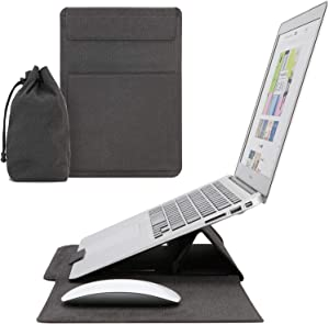 IMMOOWWI Multifunction Laptop Sleeve Case for 13-13.3 inch MacBook Air/Pro, Ergonomic Laptop Stand with Mouse Pad & Card Holder for Dell XPS 13 Lenovo ThinkPad X1 Carbon HP/Acer Chromebook 13, Black