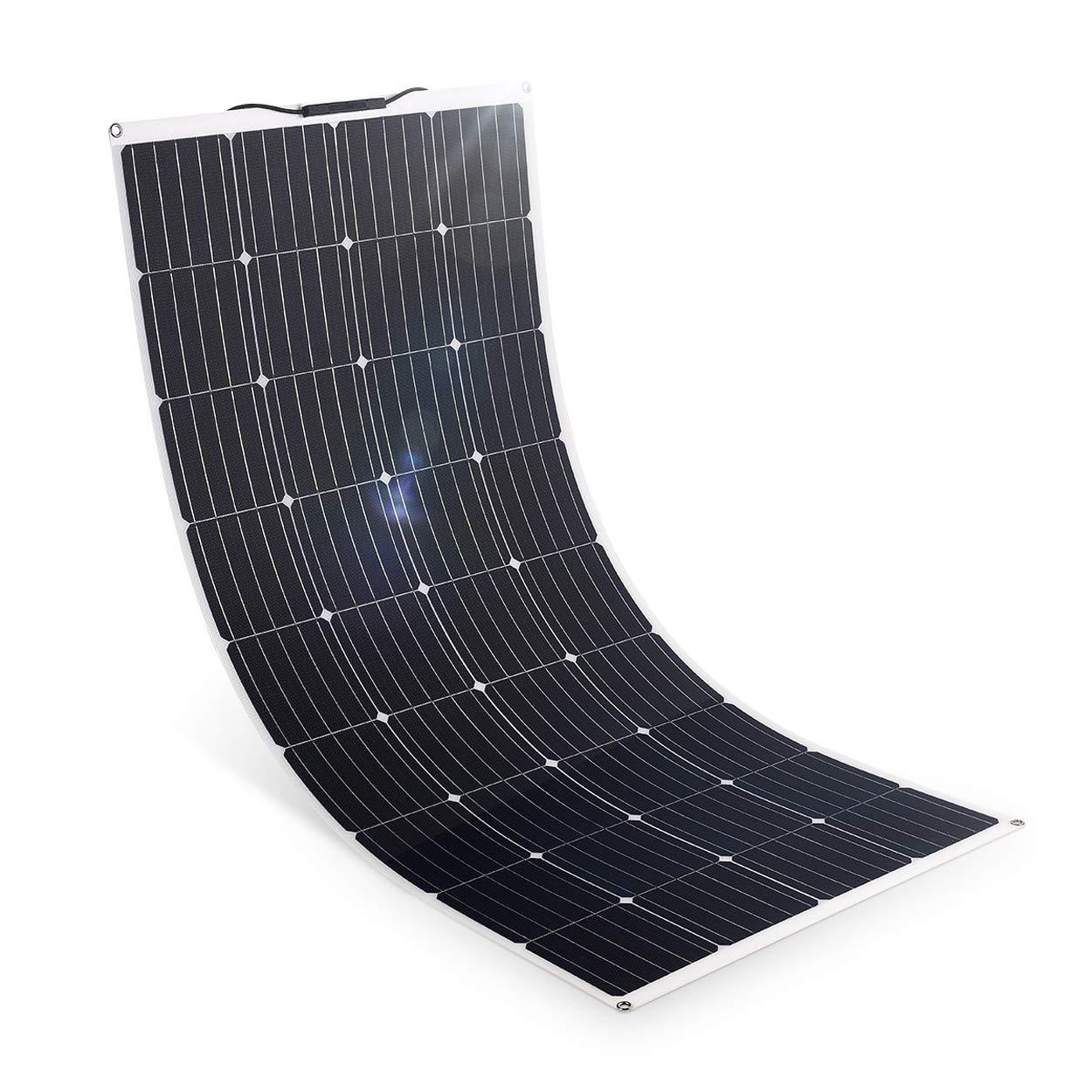 SARONIC 160W 12V Panel solar ETFE Mono flexible semi-flexible 18V 12V Módulo de cargador solar con cable de carga MC4 para autocaravanas, automóviles, barcos y baterías de 12V al aire libre