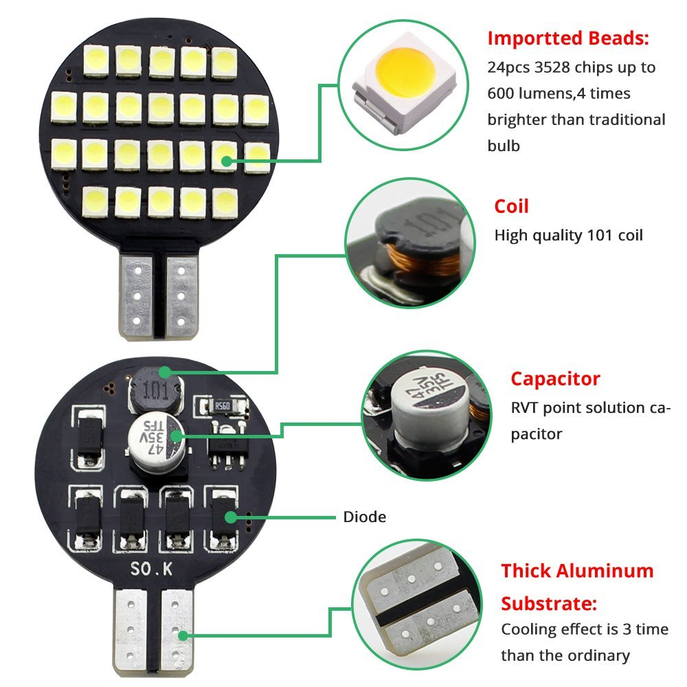 Boodlied 10Pcs 9-30V T10 194 LED Bulb Super Bright 3528 24-SMD Chipsets 921 192 C921 LED Bulbs,1.8Watt For Car RV Motorhome Boat Ceiling Dome Interior Lights,Xenon White Guangzhou BD Photoelectric Technology Co Ltd 10-pack