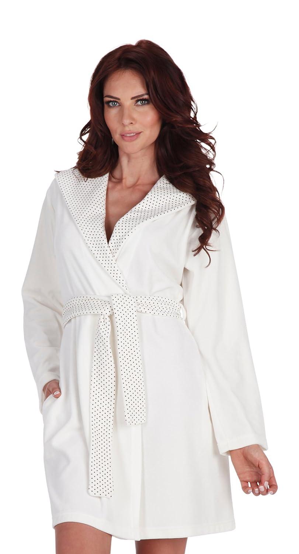 Ladies Fashion Hooded Housecoat Robe Cotton Dressing Gown Bathrobe Kropki/965