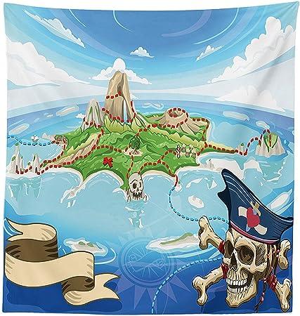 vipsung Isla Mapa Decor Mantel Aerial View de fantasía Pirata Cove Isla con Calavera y Capitán Calavera Figura Decor Funda para Mesa Rectangular para Comedor Cocina Multi: Amazon.es: Hogar