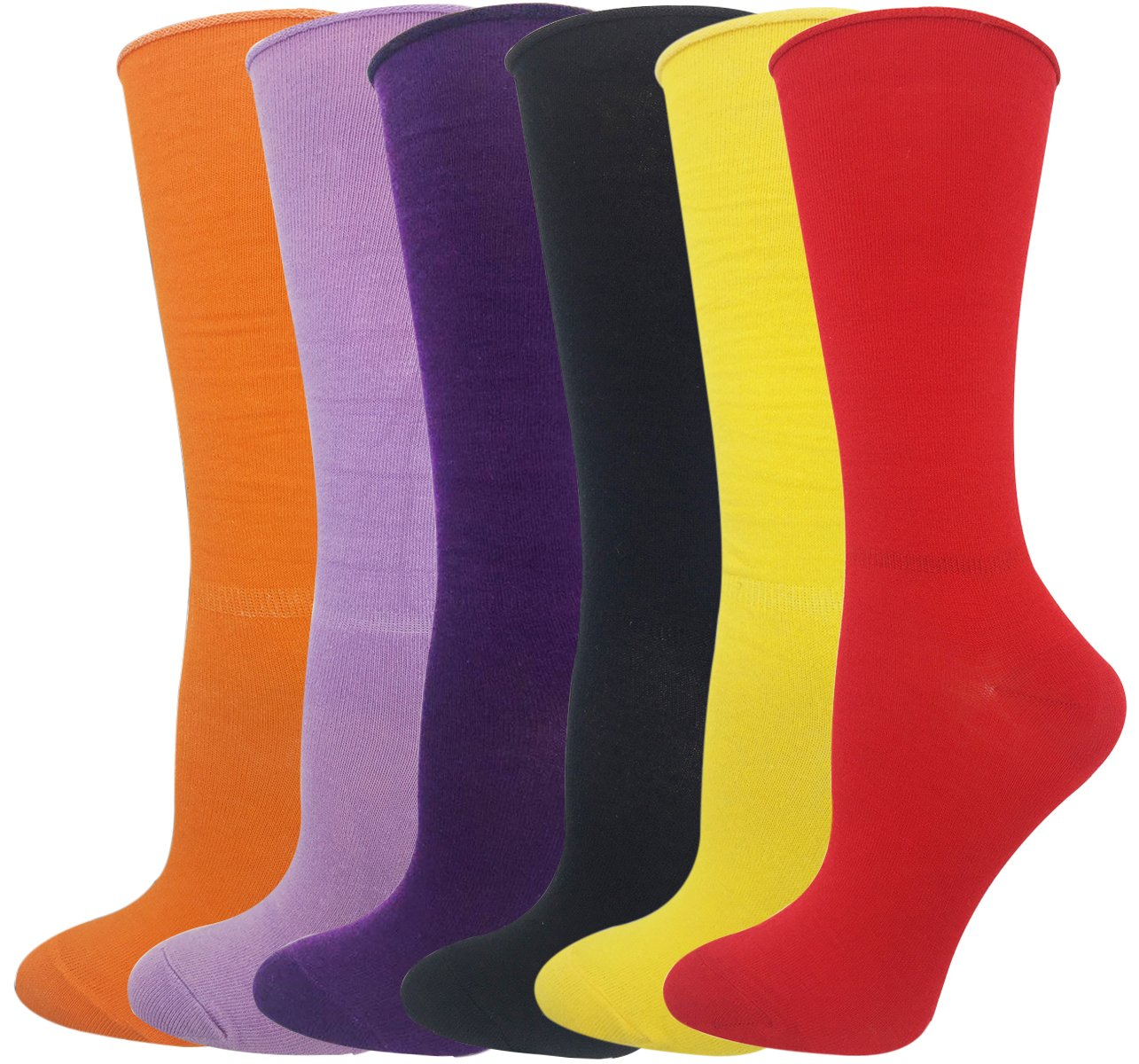 Cityelf Women's Classic Roll Top Cotton Compression Socks (6 pairs, mix) by Cityelf (Image #1)