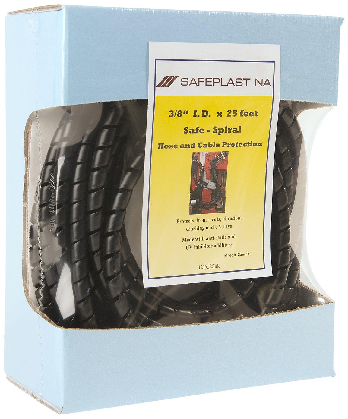 Pre-Cut Spiral Wrap Hose Protector, 3/8' I.D., 25' Length, Black 3/8 I.D. 25' Length Safeplast NA Company Ltd. 12PC25bk