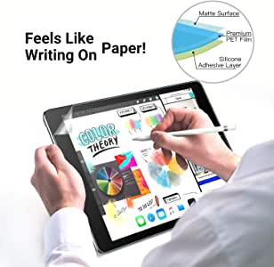 [2 Pack] iPad 9.7 Screen Protector for iPad 9.7 2018 / iPad Pro 9.7 2016 Paperfeel Screen Protector Write/Draw and Sketch Compatible Apple Pencil ipad Paperfeel 9.7 - No Fingerprint