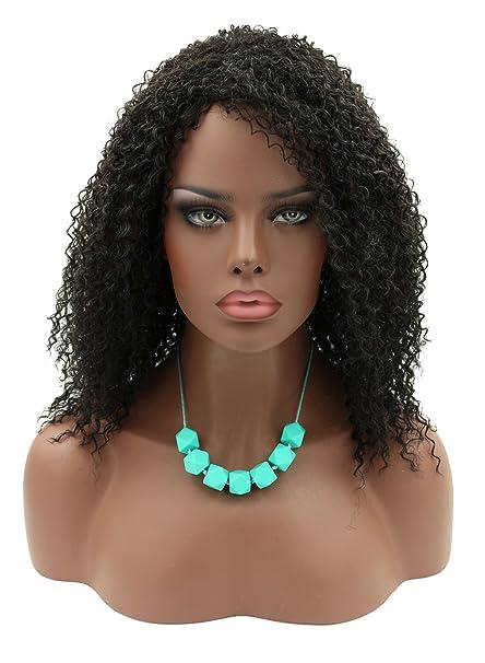 kalyss largo rizado afro Kinky ninguno encaje sintético peluca de pelo Negro para las mujeres negras