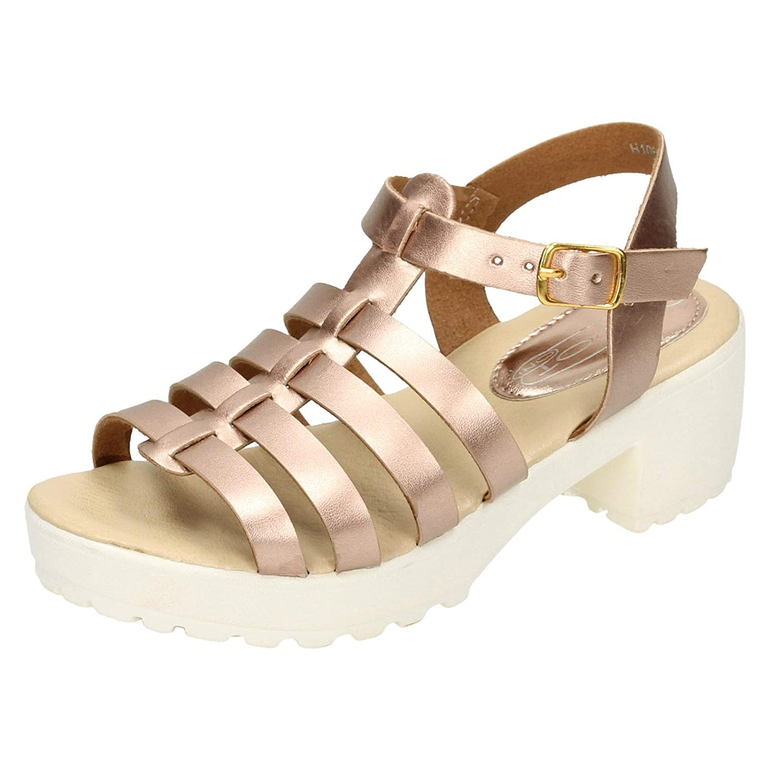 7714e95679 HeelzSoHigh Kids Girls Childrens Rose Gold Strappy Sandals Summer Holiday  Retro Shoes Sizes 10-2: Amazon.co.uk: Shoes & Bags