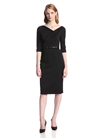 2181308234f Amazon.com  Black Halo Women s 3 4 Sleeve Jackie O Dress  Clothing