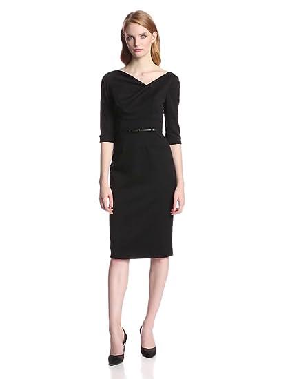 37c02b6cc Amazon.com  Black Halo Women s 3 4 Sleeve Jackie O Dress  Clothing