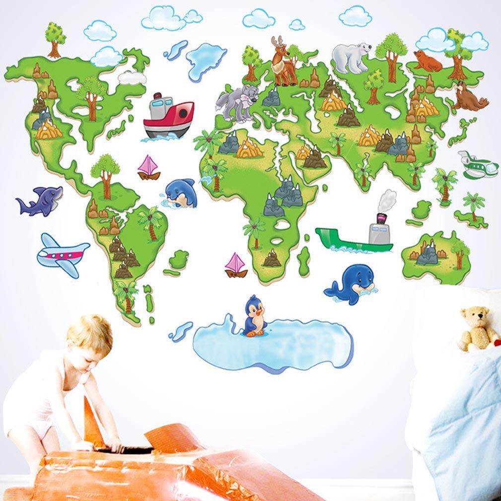 BIBITIME World Map Wall Sticker: Dark blue flowers America,Honeycomb South America,Wave stripes Europe, Geometric Africa,Polka Dot Asia, Checkered Australia Art Stickers Home Decor ,51.18 * 27.17 IN 1621