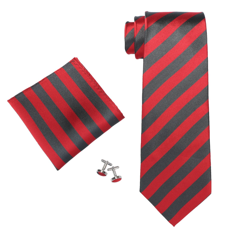 Landisun Various Stripes Mens Silk Tie Set: Neckie+Hanky+Cufflinks