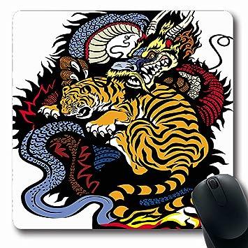 Alfombrillas Dragón Tigre Lucha contra el Tatuaje Yang Angry Yin ...