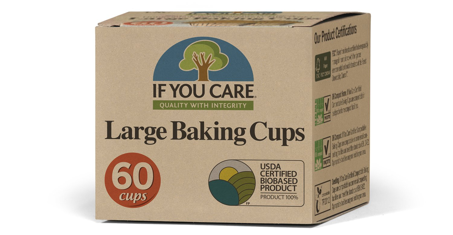 If you care Unbleached Large Baking Cups, 60-Count Boxes, Brown (24 Pack) by If You Care
