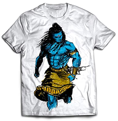 d32f3c9034 STAND OUT Men's Cotton Angry Shiva Dry Fit Round Neck T-Shirt (White)