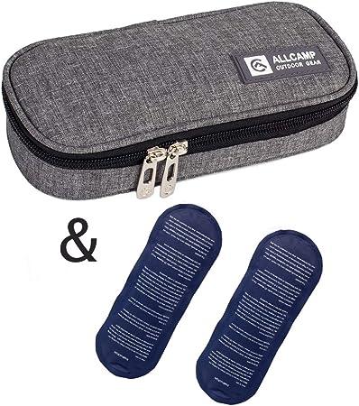 apollo walker Bolsa diabética Enfriador de insulina Bolsa Bolsa de jeringas para la Diabetes, insulina y medicamentos 20x4x9cm (Gris + 2 Bolsas de Hielo): Amazon.es: Hogar