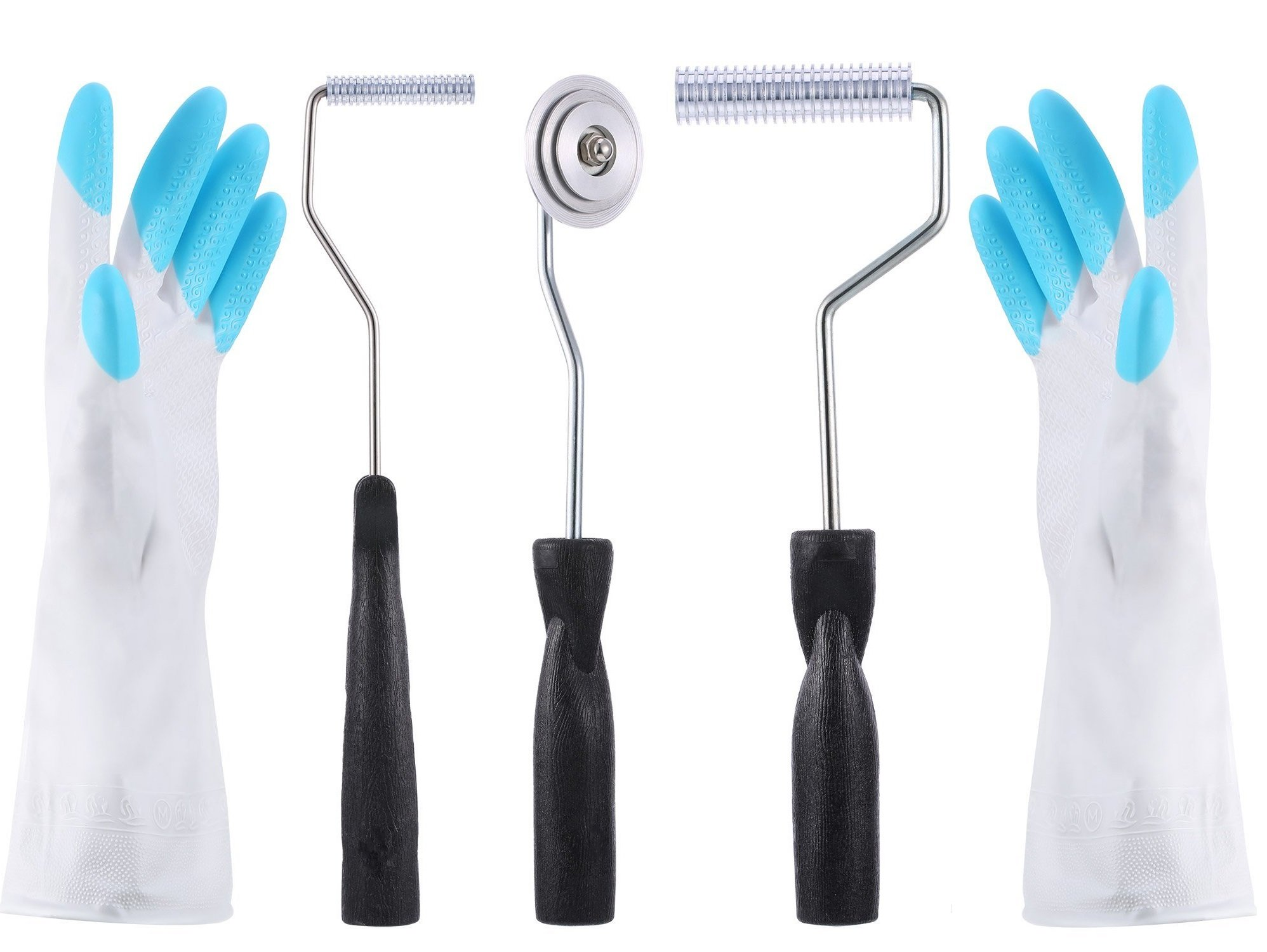 Alwaysuc Bubble Paddle Tool 3 Pcs Fiberglass Laminating Bubble Roller Kit for Mold Resin Composite with 1 Pair Gloves