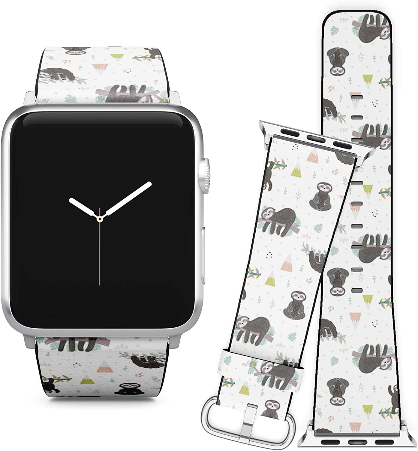 Compatible with Apple Watch iWatch (38/40 mm) Series 5, 4, 3, 2, 1 // Soft Leather Replacement Bracelet Strap Wristband + Adapters // Cute Sloth On Branch