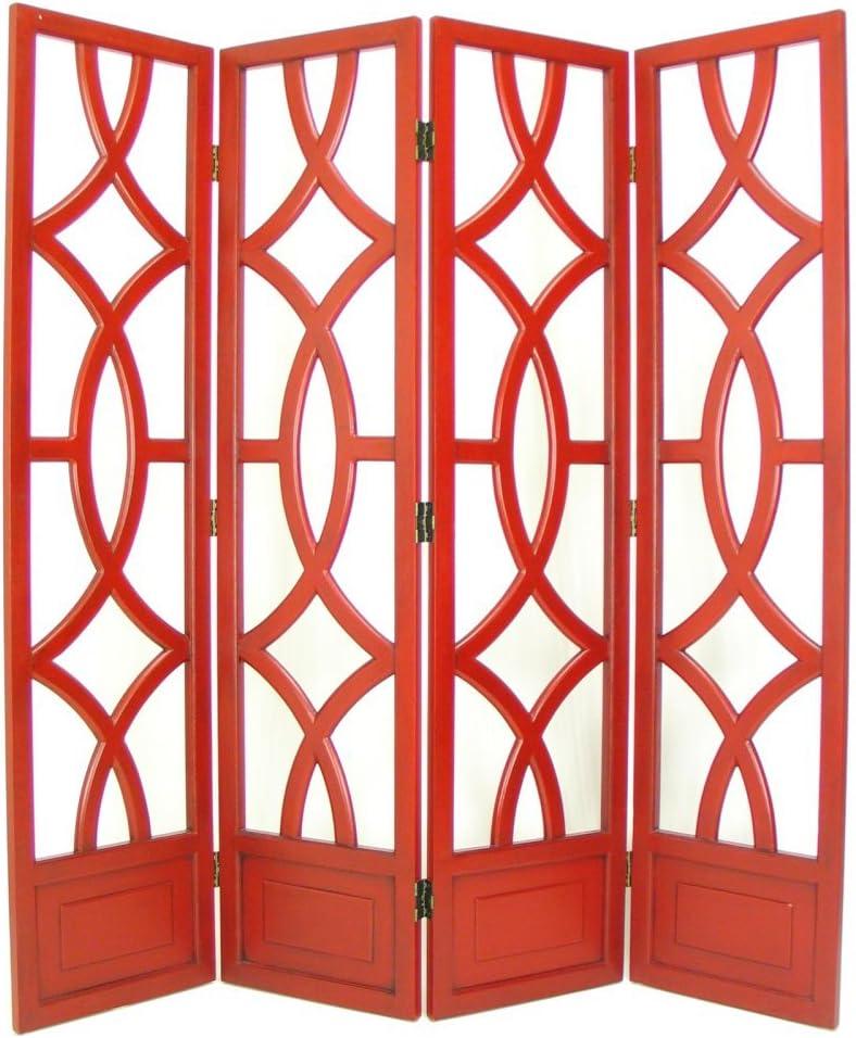 """Wayborn Home Furnishing Charleston 4 Panel Room Divider, 76"""", White/Distressed China Red"""