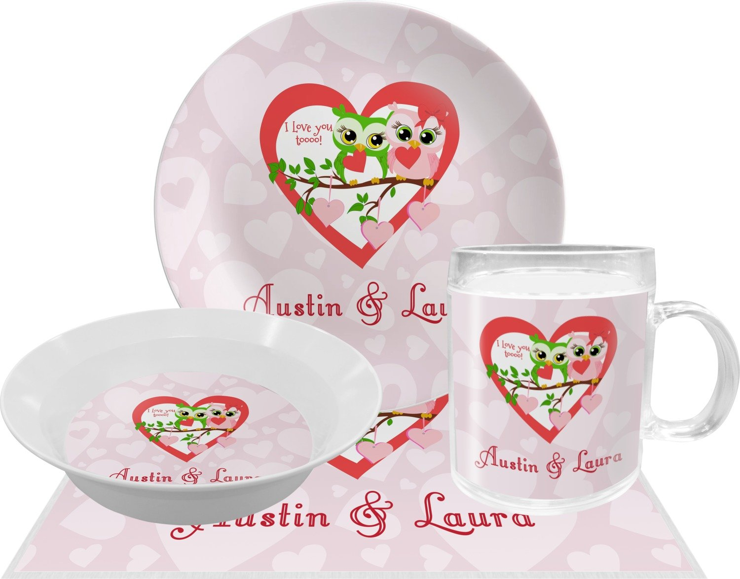 Valentine Owls Dinner Set - 4 Pc (Personalized)