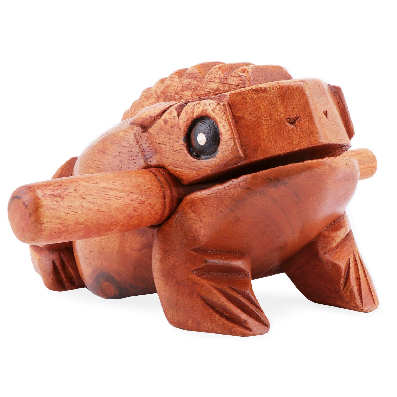 instrumento de percusi/ón de comercio justo 6.7 pulgadas Aussel Guiro Rana de madera con mazo instrumento musical con bloque de sonido