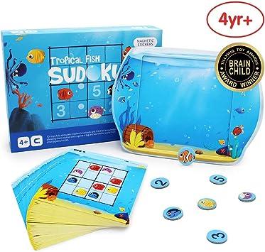 ANIKI TOYS Peces Tropicales Sudoku Juegos de Mesa magnéticos Rompecabezas de Juguete de Viaje- 4 5 6 7 años Juguete Educativo para niños (Nivel intermedio): Amazon.es: Juguetes y juegos
