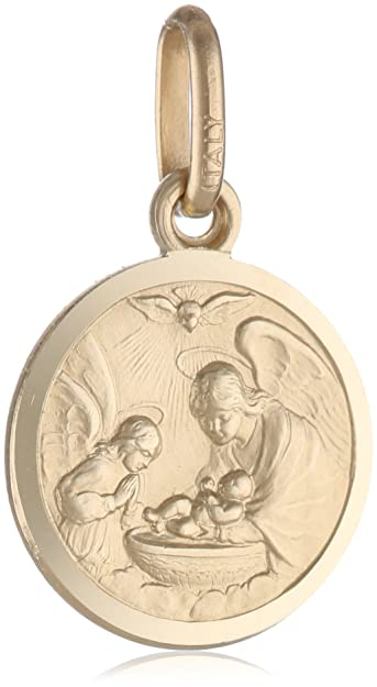 frqca medals cut gp gold jewelry baptism charm round medallion diamond silver
