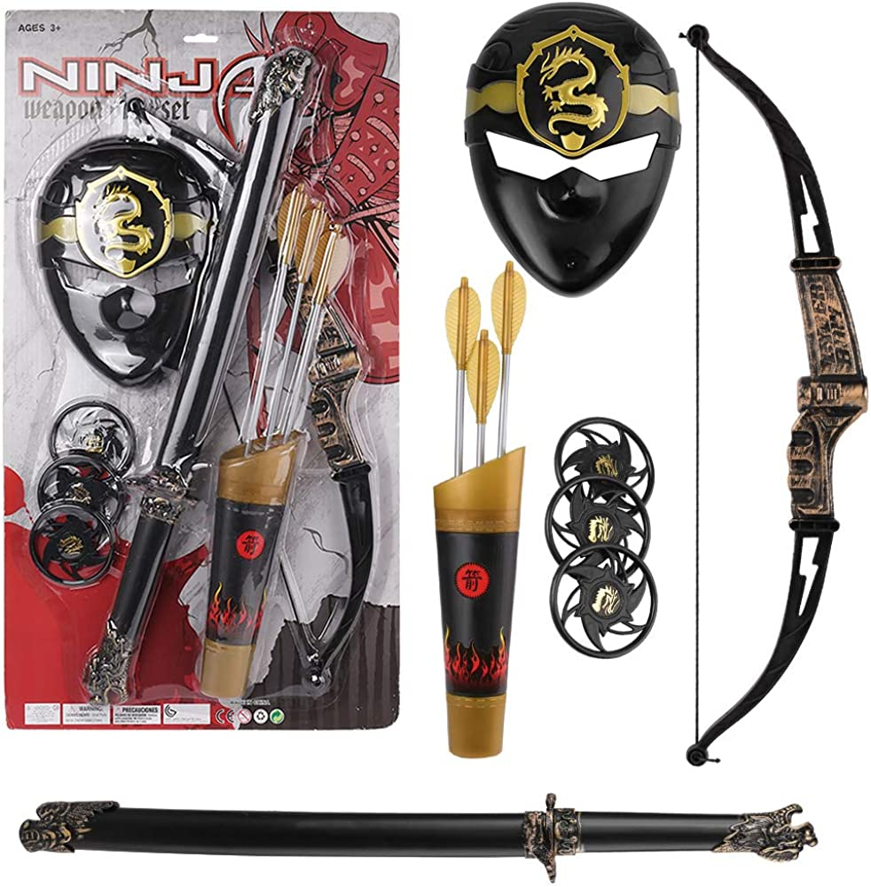 Kids Ninja Warrior Pretend Role Play Toy Costume Set with Mask, Sword, Bow and Arrow Black