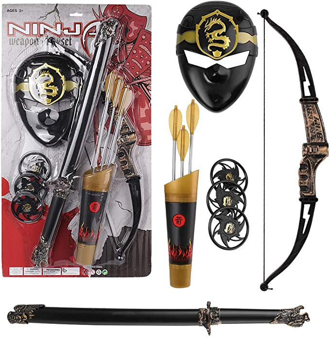 Pretend Play Ninja Toy Set with Toy Sword, Bow and Arrow ...