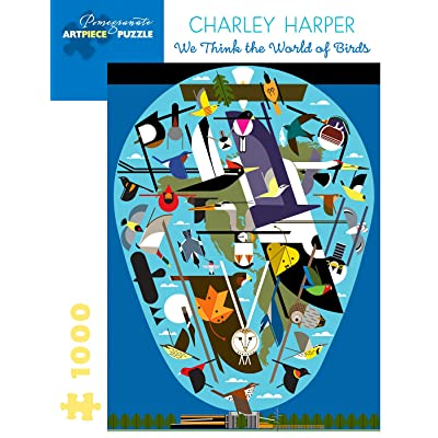 Charley Harper: We Think the World of Birds 1000-Piece Jigsaw Puzzle: Toys & Games