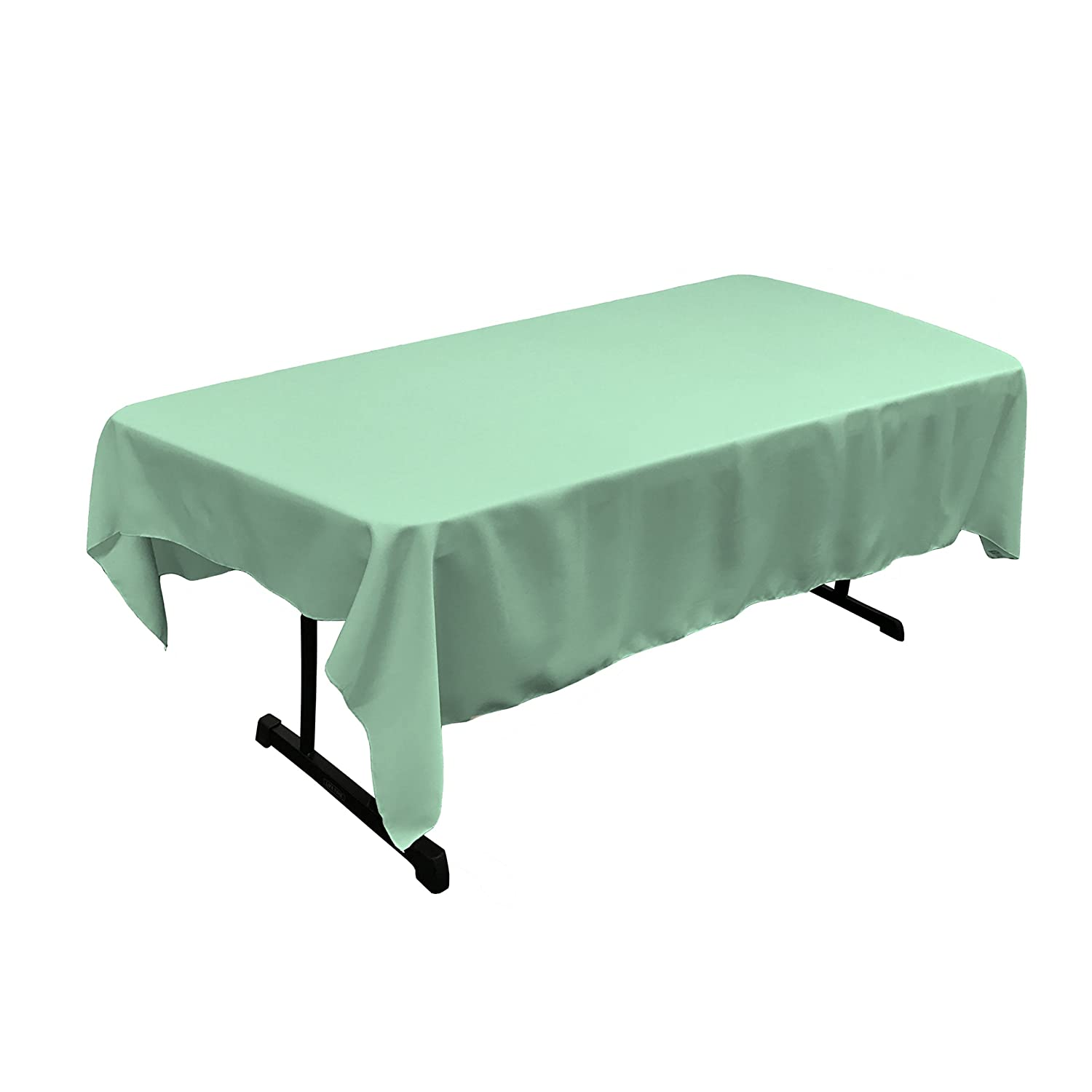 LA Linen Polyester Poplin Rectangular Tablecloth Light Turquoise 60 x 84