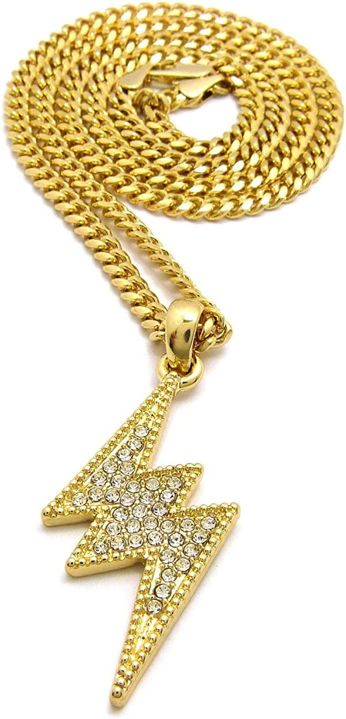 Gold w// 24 Cuban Chain Crown Stone Studded Lightning Bolt Pendant Necklace Available in Various Tones and Chains