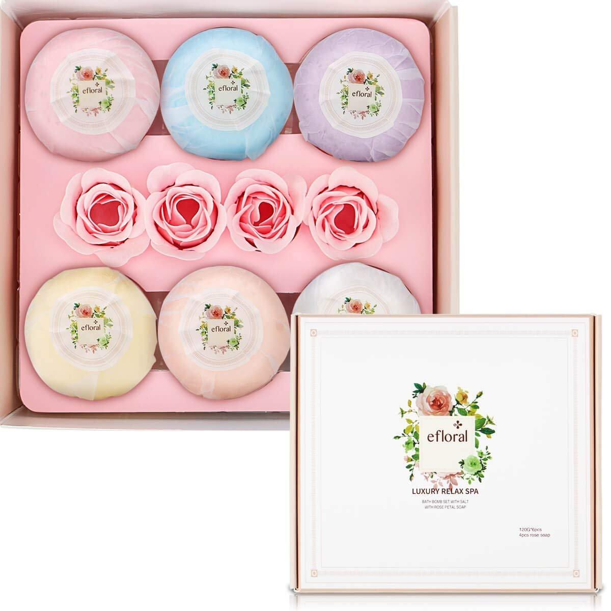 Bath Bombs Gift Set Natural Bath Supplies 6 Pcs Bath Set For Women Fragrance Organic Bath Gift Set 4.2 Oz efloral 7047