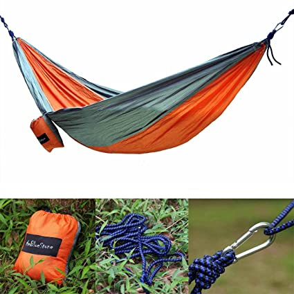 Generic Portable Outdoor Camping Sleep Double Hammock Parachute Nylon Fabric Orange+Grey
