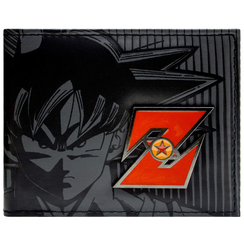 Toei Dragonball Z Goku Red Metal Badge Black ID & Card Bi-Fold Wallet
