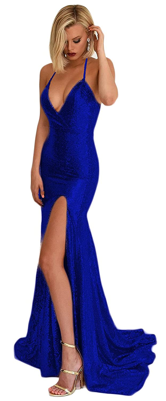 Womens V Neck Sequined Evening Prom Dresses Slit Long Halter Straps Formal Party Gown BPM06
