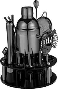 18 Piece Cocktail Shaker Set with Rotating Stand,Stainless Steel Bartender Kit Bar Tools Set for Christmas Gift,Home, Bars, Parties and Traveling (Gun-Metal Black)