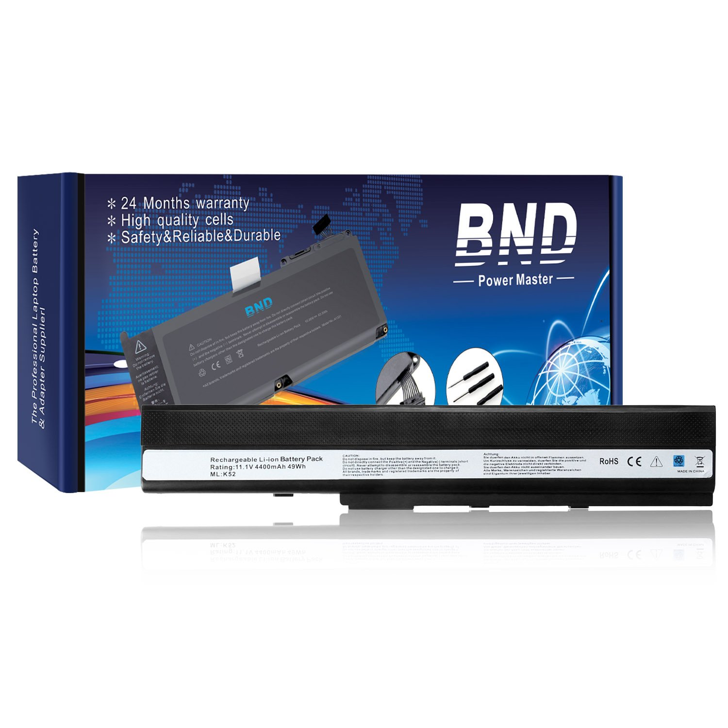 BND Laptop Battery for ASUS A52F A52J A52 K52F K42 K42J K52 K52J K52JR K52JC, fits Asus K52L681 A31-K52 A32-K52 A41-K52 - 12 Months Warranty [6-Cell 4400mAh/49Wh]