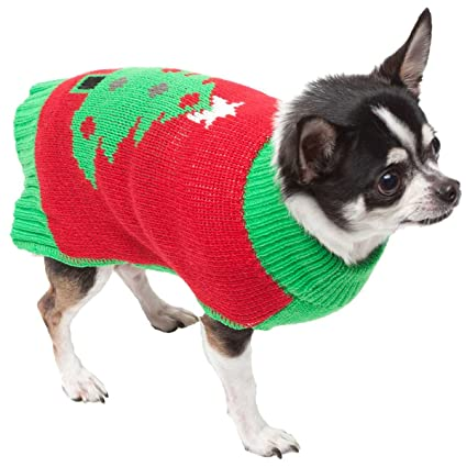 trezo paws red holiday tree pet christmas sweater large - Large Dog Christmas Sweaters
