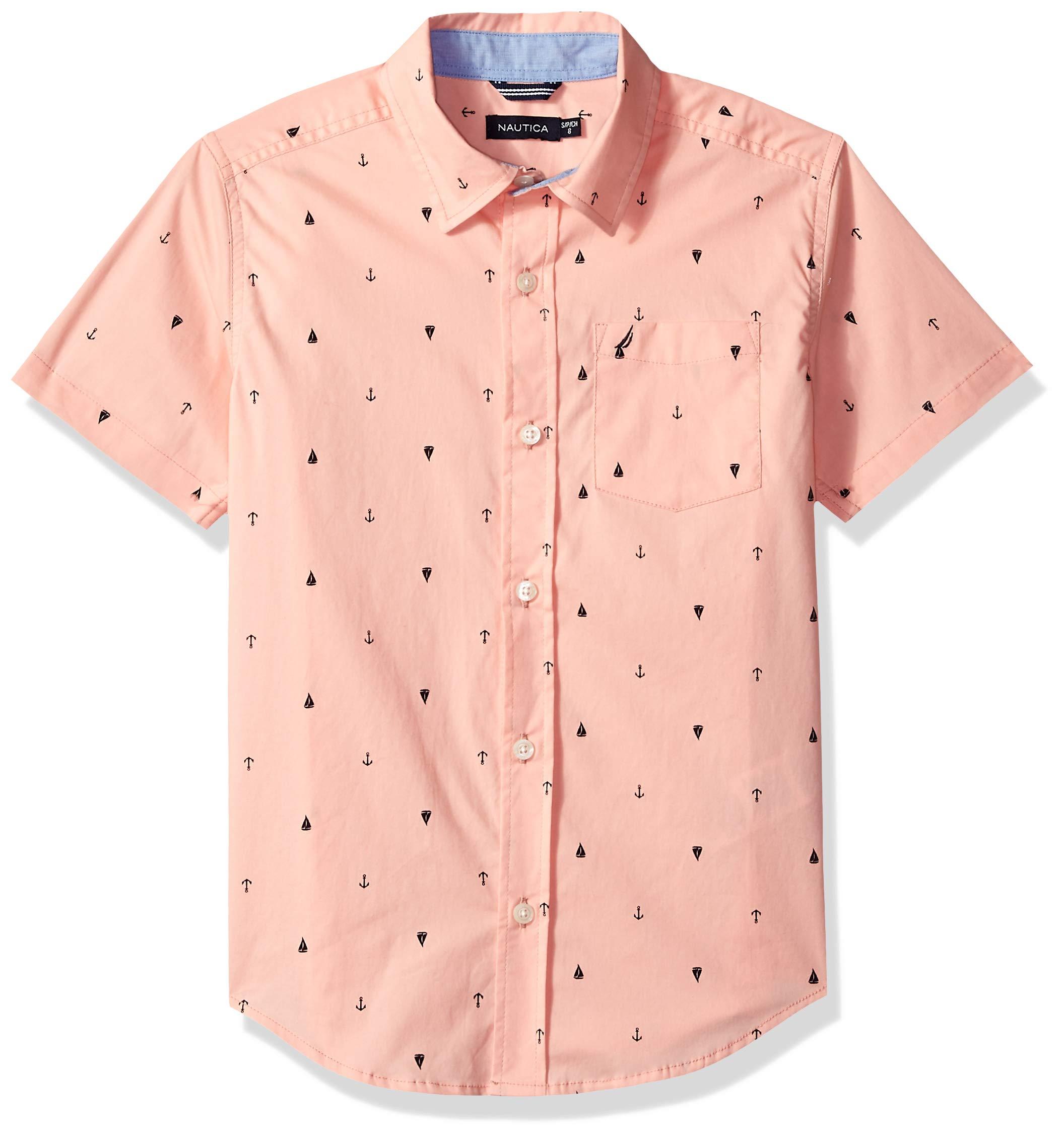 Nautica Little Boys' Short Sleeve Printed Woven Shirt, Felix Light Pink Medium (5)