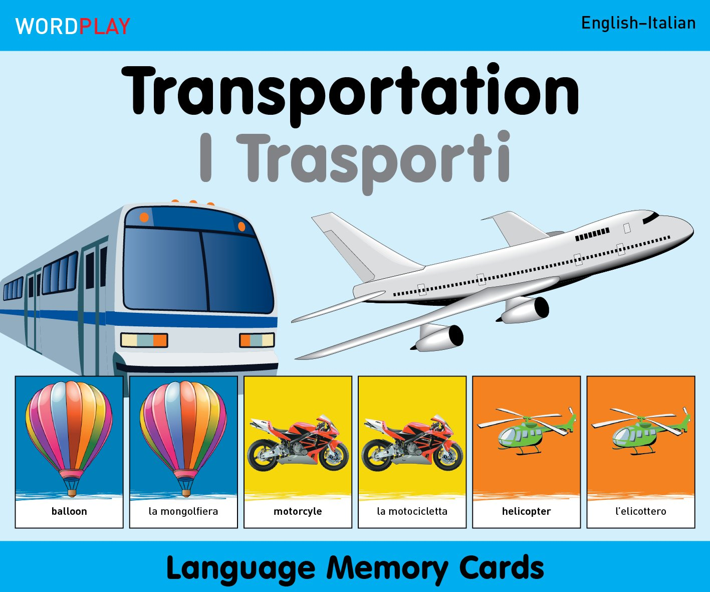 WordPlay Language Memory Cards–Transportation (English–Italian) (Italian and English Edition) by Milet Publishing